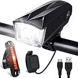 OMERIL Lumière Vélo Rechargeable USB, Lampe Vélo LED Puissante Eclairage Vélo Imperméable IP65 Lumière Arrière 100LM et Lumière Avant 300LM avec Sonnette 120dB Cyclysme VTT, VTC, Bicyclette