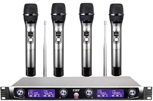 Maxcart Professional 4 Channel UHF Series Wireless/Cordless Microphone with 4 Metal Handhelds Fixed Frequency Mic Set Audio for Family Party Church Karaoke Night DJ Party Public Event Microphone