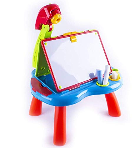 deAO Proiettore con Tavolo da Disegno per i Bambini - Lavagna Gesso e Magnetica Bianca (2en1)