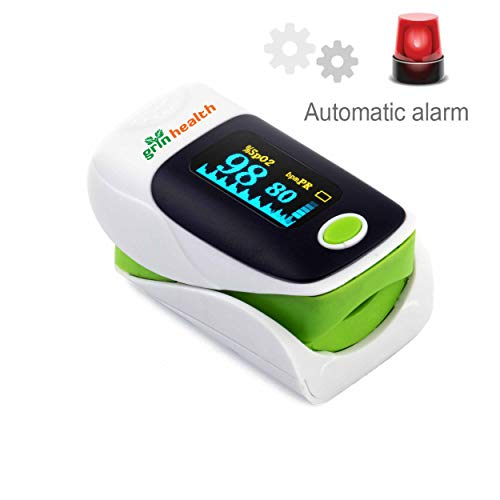 Grin Health Finger Tip OLED Pulse Oximeter With Automatic Alarm, PR pulse rate SPO2 Blood Oxygen Saturation Monitor (Pulse Oximeter, Green)