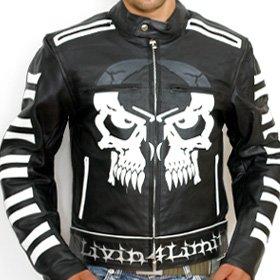4LIMIT Sports Livin4limit Motorradjacke Leder Crossbones Biker Motorrad Jacke Lederjacke Schwarz, 4