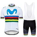 ZHLCYCL Traje Ciclismo Hombre, Maillot Ciclismo y Culotte Ciclismo con 5D Gel Pad para Verano Deportes al Aire Libre Ciclo Bicicleta, MOV-White, S
