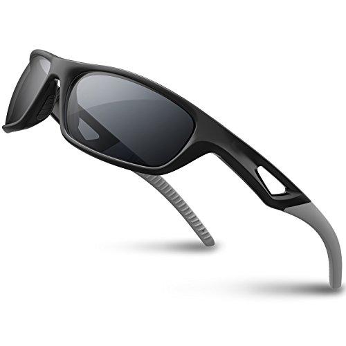RIVBOS RBS931 Unisex Gafas de Sol de Deporte Polarizadas 100% UV 400 Protection TR 90 Marco Irrompible Antiniebla Lentes Impermeables Gafas para Jogging Conducir Pesca Carreras Escalada TR Gris& negro