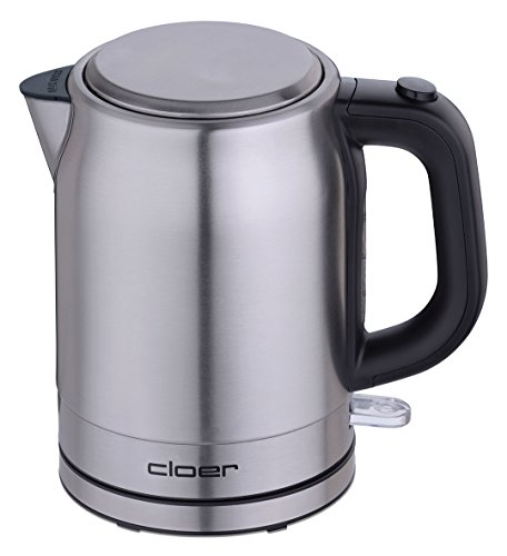 Cloer 4519 Wasserkocher Edelstahl / 2200 W / Wasserstandsanzeige / Trockengeh- und Überhitzungsschutz / 1 Liter