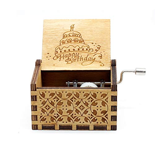 Windup Happy Birthday Theme Wooden Music Box - in Gift Jute Pouch - Antique Curved Hand Crank