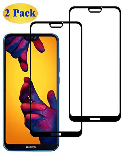 Eachy Vetro Temperato Huawei P20 Lite, [2 Pezzi] Pellicola Protettiva Huawei P20 Lite/Huawei Nova 3e Protezione Schermo Copertura Completa Bordo a Bordo 5,84 Pollici-Nero