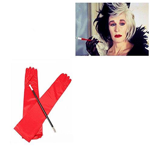 Card and Party Store Rosso Lungo Guanti e Bocchino Maschietta Crudelia De Mon 1920s Costume