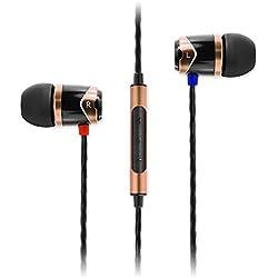 SoundMagic E10C - Auriculares Cerrados con Mando a Distancia y micrófono, Color Dorado