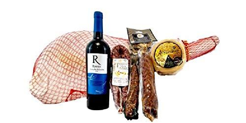 Cestas y Lotes Gourmet - Lotes de Regalo - Lotes de Navidad Gourmet - Lote Con Jamón + Vino + Embutidos + Vino (Gourmet)
