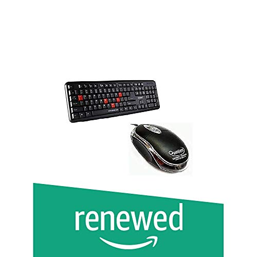 (Renewed) Quantum QHM7403 and QHM222 Optical Mouse Wired Combo (Black)