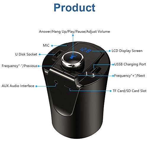 GOURCE Car Bluetooth FM Transmitter Music Player Cup Holder Hands Free Calling Support U Disk TF Card Dual USB Port Charger Adapter