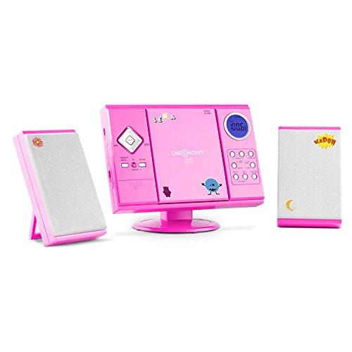 oneConcept V-12 • Stereoanlage • Kompaktanlage • Microanlage • für Kinder • mit Sticker-Set • MP3-fähiger CD-Player • UKW/MW-Radiotuner • MP3-fähiger USB-Port • SD-Slot • AUX-In • Wandmontage • pink