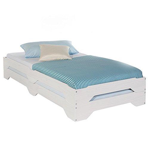 IDIMEX Stapelbetten Set Doppelbett Einzelbett Gästebett Bett Ronny Kiefer massiv Weiss lackiert 90 x 200 cm (B x L)