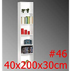 REGAL DICO weiss Standregal Bücherregal Badregal TV-Regal HiFi-Regal Büroregal (#46 200x40x30cm)