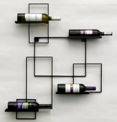 Scaffale vini a parete 'Black Line' Supporto bottiglie in metallo 90cm Scaffale a parete porta...