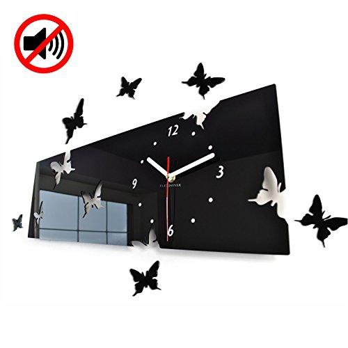 Grande orologio da parete salotto moderno FARFALLE orizzontale nero decorativo silenzioso 20 x 60 cm