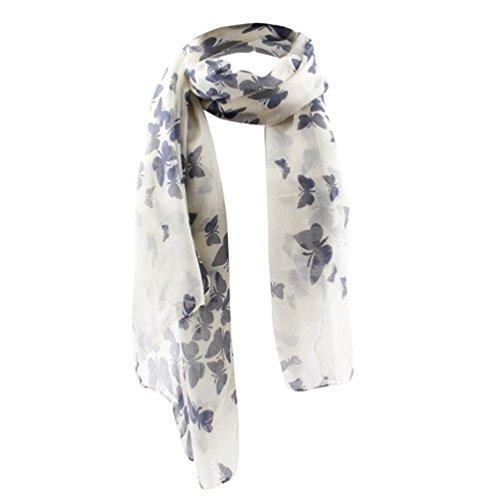 Bufandas mujer,Morwind pañuelo bufandas mujer invierno mariposa de impresión bufanda chal de Gasa deformación estola pañuelo para mujeres señoras (Blanco)