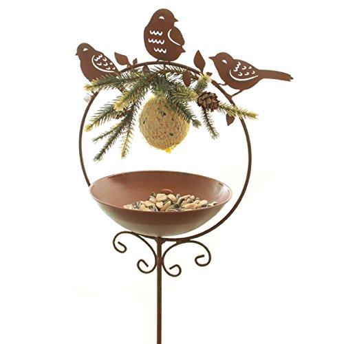 Dio Meisenknödelhalter als Gartenstecker 3 x Vogel im Ring aus Metall mit Tränke oder Futterstelle