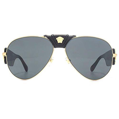 d2490b98bde8 Versace Medusa Leather Bridge Detail Aviator Sunglasses in Gold Black  VE2150Q 100287 62