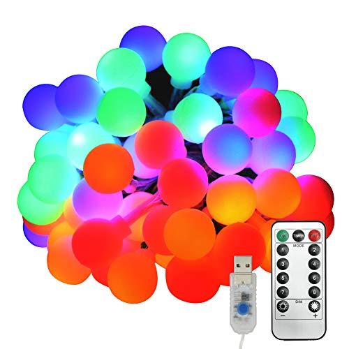 Luci USB Multicolor, Neoperlhk 5m 50 LED Lucine LED Multicolore di Natale Esterne 8 Modalità di...