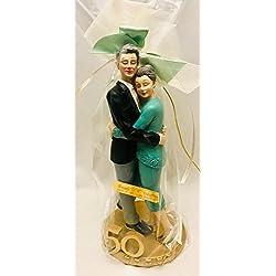Figura pastel bodas de oro 50 aniversario GRABADA/figuras PERSONALIZADAS para tarta o regalo