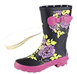 Woodland Ladies Wide Calf Wellies Wellington Boots Plus Extra Comfort Memory Foam Insoles (UK 5 EU 38, Pink Floral)