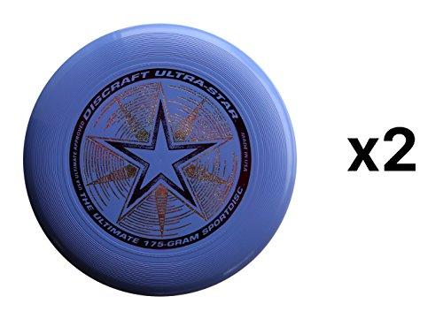Discraft Ultra-Stars Ultimate Frisbee 175 Gram Sportdiscs-Light Blue (2-Pack)