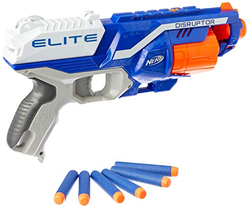 Nerf Disruptor Elite Blaster -- 6-Dart Rotating Drum, Slam Fire, Includes 6 Official Nerf Elite Darts -- For Kids, Teens, Adults