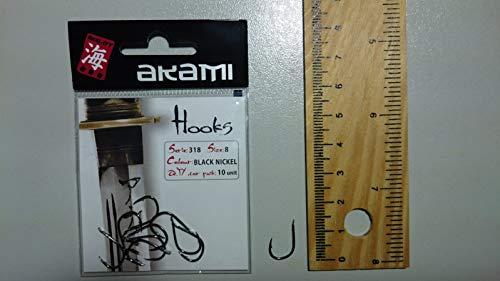 AKAMI HOOKS serie 318 size 8 Colore Black Nickel Confezione da 10 Ami