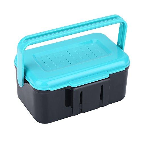 VGEBY1 Scatola portautensili da Pesca, Contenitore di plastica Blu Luminoso Portatile con Esca per Pesca con Clip per Worm Worm Earthworm Lure Storage