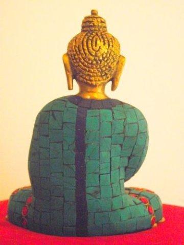 """'Bella latón Buda Dall' India con Gemma intarsiato Robe. Altura 15cm Ancho 12cm; peso 1.145Chili. Questo Buda Mostra la """"Gesto de meditación Mudra con cuenco de arroz-Sold by Spiritual Gifts. solitamente dispathced Entro 2días lavorativi 5"""