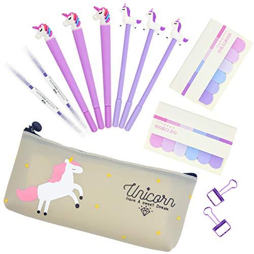 Penne per Unicorno Simpatico Regalo, 6 pezzi Penne a Sfera Scrittura liscia Firma Nera Penna in...