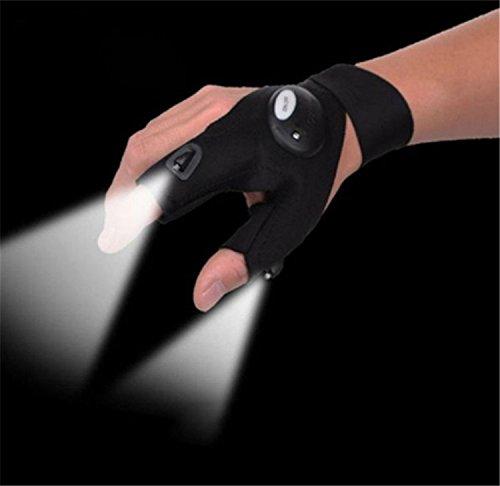 YouPei Black LED Light Gloves Finger Lighting Auto Repair Outdoor Fishing Repair Flashing Camping...