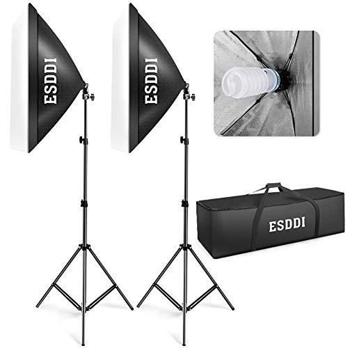 ESDDI Softbox Studio Set Fotografico Portatile, 800W Lampade 2(50x70cm) Softbox Kit Luce Continua...