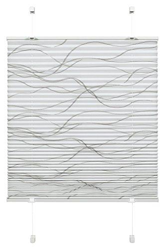 Gardinia Plissee zum Klemmen, Blickdichtes Faltrollo, Alle Montage-Teile inklusive, EASYFIX Plissee Katy Wave verspannt mit zwei Bedienschienen, Weiß, 80 x 130 cm (BxH)