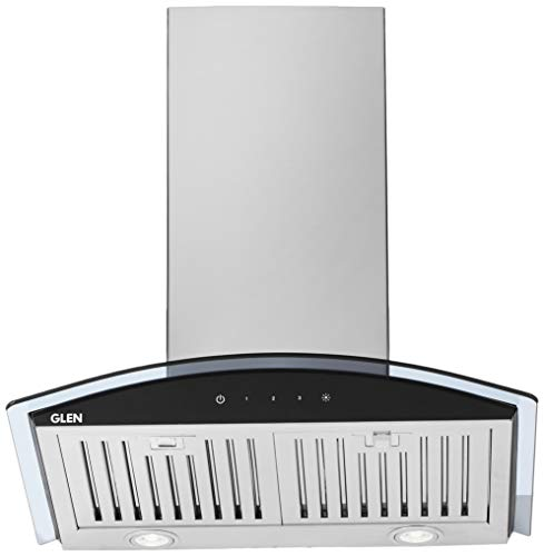 Glen 60cm 1000 m3/h Wall Mount Kitchen Chimney (6071 SX TS, Baffle Filter, Touch Sensor control, Silver)
