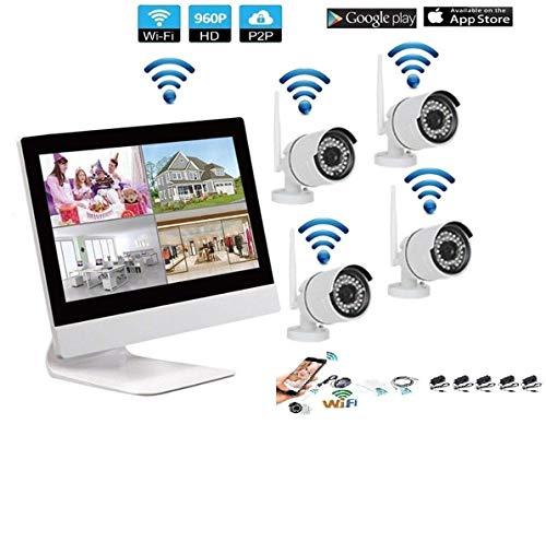 KIT VIDEOSORVEGLIANZA WIRELESS NVR 4 CANALI 4 TELECAMERA IP WIFI+NVR MONITOR 10
