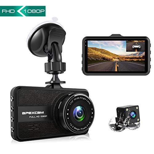 Apexcam Dash Cam Telecamera per Auto FHD 1080P 3 Pollici con Grandangolare di 170° e Super-Condensadore WDR Visione Notturna con Registrazione a doppia Lente in Loop G-Sensor e Caricatore USB da Auto