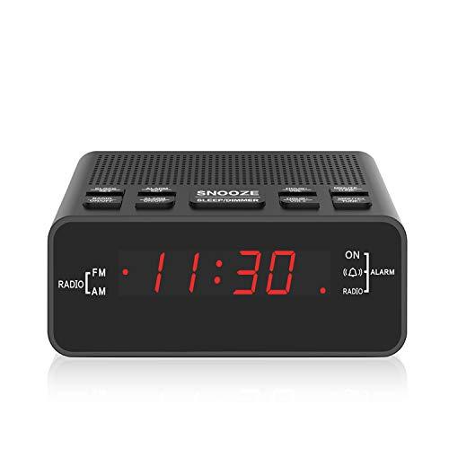 Digital FM AM Radiowecker Uhr Mit Nachtlicht-Funktion, Easy Snooze, Dual Alarm, Sleep-Timer - Anpassbare Helligkeitsregulierung (At-51)