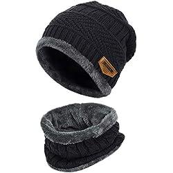 VBIGER Niños Sombrero Caliente de Punto y Bufanda tubular con Forro de Lana,2 Piezas