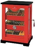 Egoist Premiuem - Zigarren Humidor Schrank aus Holz mit Hygrometer und Befeuchtungssystem für ca. 100 Zigarren I Zigarren-Zubehör - Rot