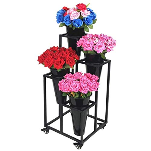 Estante Flower Holder Garden Grow Plant Pot Pot Pack de 4 macetas Soporte for jardín Patio Balcón Plant Pot Holder Estante de flores de hierro con rueda Incluyendo macetas de arado Estante de flores S