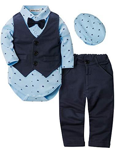 Zoerea Baby Jungen Strampler Kleidung Set Hosen Fliege Anzug mit Hut Cute Jumpsuit Outfit Body,Größe 100
