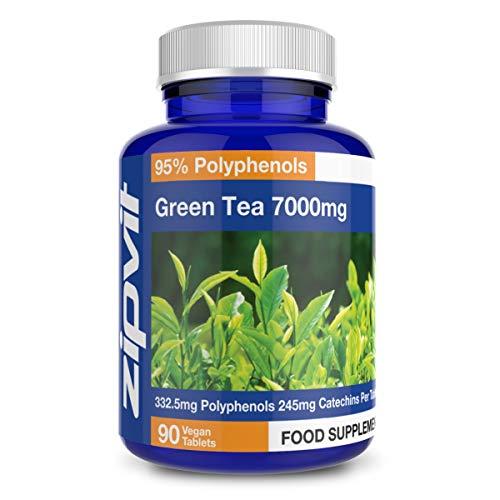 Estratto di tè verde 7000mg (massima forza) |90 vegan compresse | Potente antiossidante | Fornitura di 3 mesi