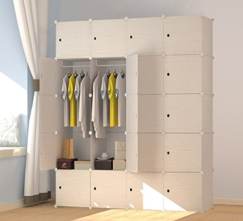 PREMAG Portable Plastic Wooden Wardrobe, Modular to Save Space, Cubes Organizer(20 New)