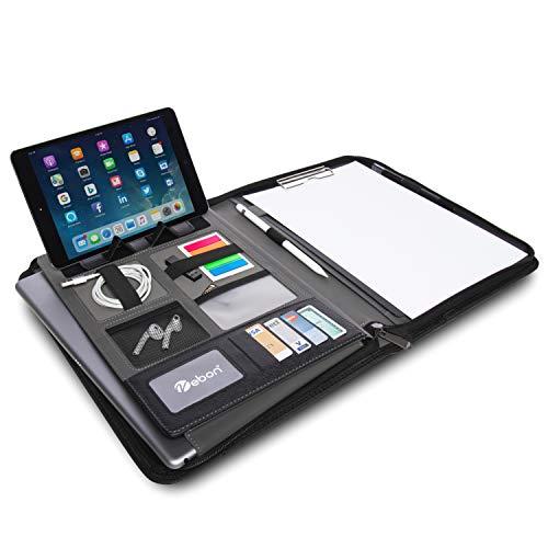"""Vebon Dokumentenmappe A4\""""London\"""" aus Veganem Leder mit Reißverschluss   Schreibmappe + Laptoptasche   2in1   Schwarz   Smartphone Halterung + Klemmbrett"""