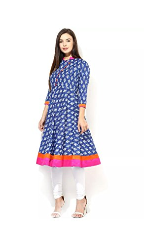 AnjuShree Choice Women's Cotton Blue Printed Stitched Anarkali Kurta Kurti (X-Large)