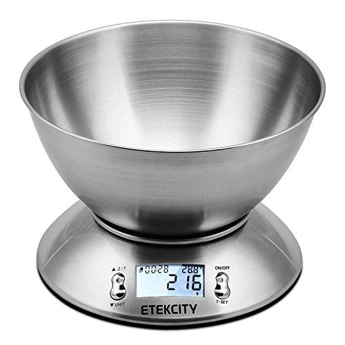 Etekcity Bilancia da Cucina Elettronica in Acciaio Inossidabile 5kg/ 11lb,Ciotola Mescolata,Timer...