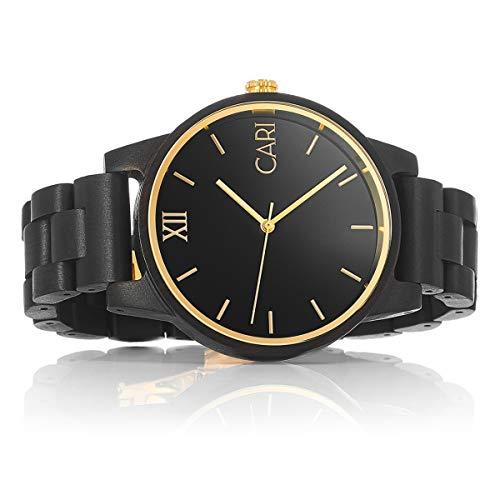 Cari Herren Männer Holzuhr 43mm mit Schweizer Uhrwerk - Holz-Armbanduhr New-York-081
