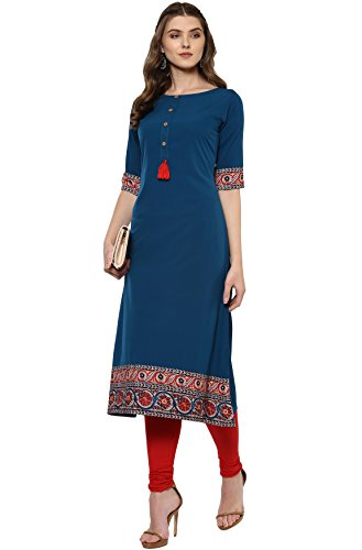 Janasya Women's A-Line Kurta (JNE2100-KR-144_Turquoise_S)
